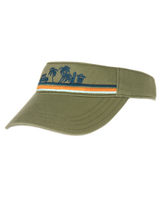 Boys Dusty Olive Green Beach Scene Visor by Gymboree