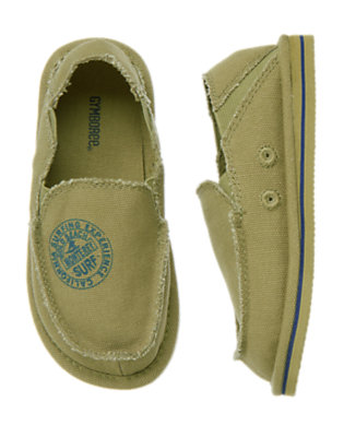 Boys Dusty Olive Green Slip-On Canvas Beach Shoe by Gymboree