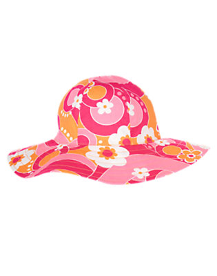 Bright Pink Flower Swirl Graphic Flower Sunhat by Gymboree