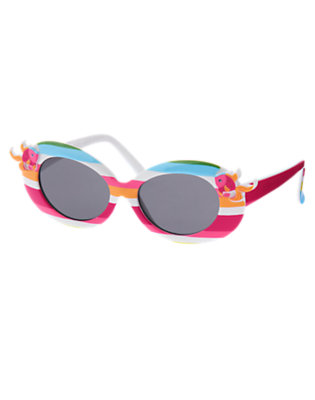 Girls Bright Fuchsia Stripe Fish Stripe Sunglasses by Gymboree