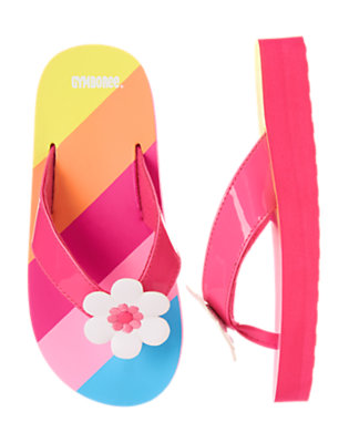 Bright Fuchsia Stripe Flower Stripe Flip Flop by Gymboree