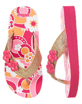 Girls Bright Pink Flower Swirl Graphic Flower Glitter Flip Flop by Gymboree