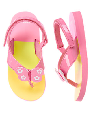 Playful Pink Butterfly Stripe Flip Flop Sandal by Gymboree