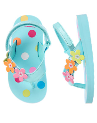 Blue Wave Flower Dot Flip Flop Sandal by Gymboree