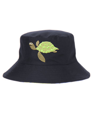 Toddler Boys Midnight Navy Sea Turtle Reversible Bucket Hat by Gymboree