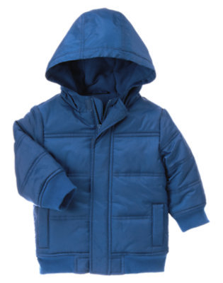 Royal Blue Hooded Puffer Jacket by Gymboree