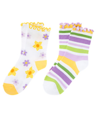 White Flower Stripe Sock Two-Pack by Gymboree