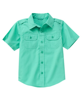 Aqua Green Button Tab Pocket Shirt by Gymboree
