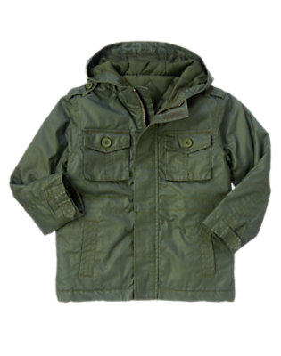 Olive Green Hooded Cargo Rain Jacket by Gymboree