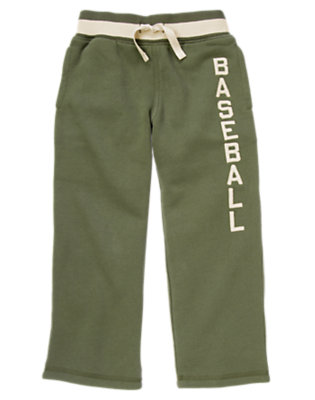 Boys Olive Green Baseball Fleece Pant by Gymboree