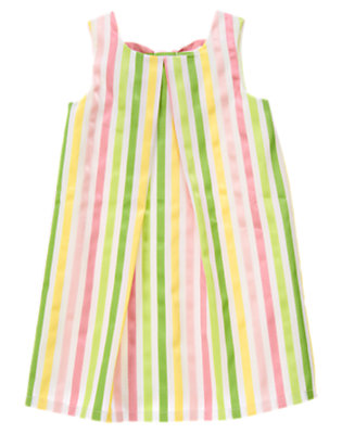 Girls White Stripe Ribbon Dobby Dress by Gymboree