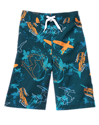 Boys Surf Blue Surfboard Swim Trunk by Gymboree