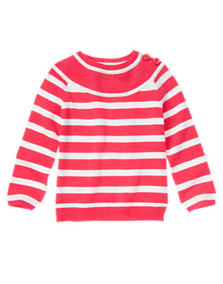 Girls Poppy Pink Stripe Button Shoulder Stripe Sweater by Gymboree