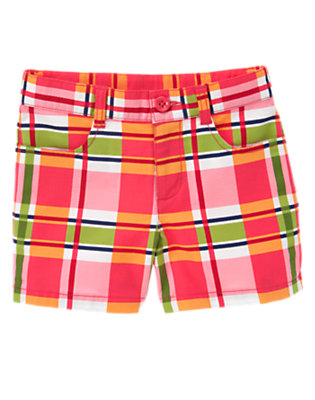 Girls Poppy Pink Plaid Plaid Pique Short by Gymboree