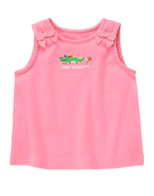 Strawberry Pink Later Alligator Bow Tank by Gymboree