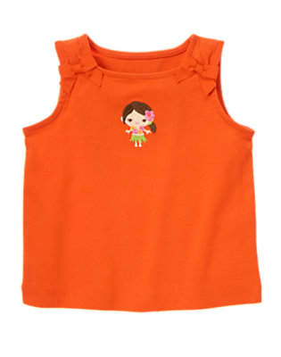 Orange Wildflower Hula Girl Bow Tank by Gymboree