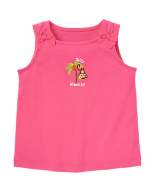 Orchid Pink Silly Monkey Bow Tank by Gymboree