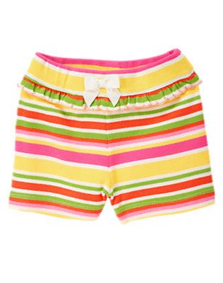 Toddler Girls Sunshine Yellow Stripe Stripe Ruffle Bow Short by Gymboree