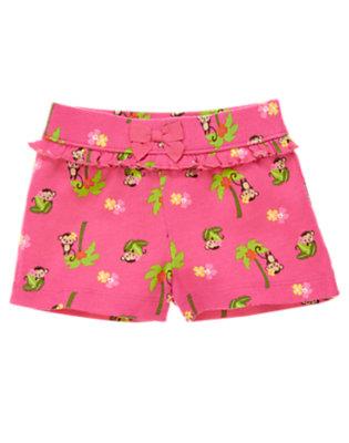 Toddler Girls Pink Monkey Monkey Ruffle Bow Short by Gymboree