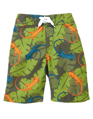 Boys Iguana Green Leaf Iguana Leaf Swim Trunk by Gymboree