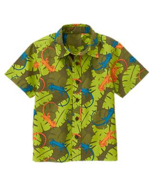 Iguana Green Leaf Iguana Leaf Shirt by Gymboree