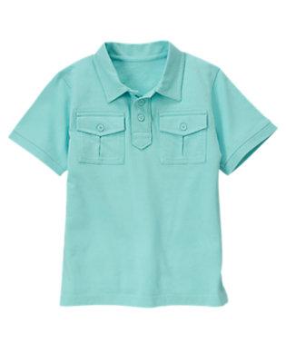 Wave Blue Pocket Polo Shirt by Gymboree