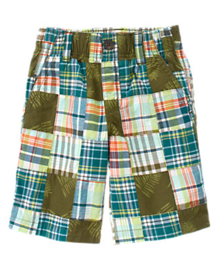 Green Plaid Patchwork Leaf Plaid Patchwork Short by Gymboree