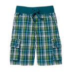 Drawstring Plaid Cargo Short