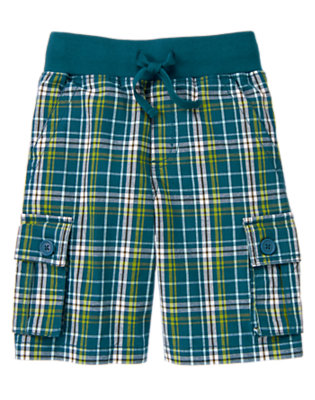 Helicopter Blue Plaid Drawstring Plaid Cargo Short by Gymboree