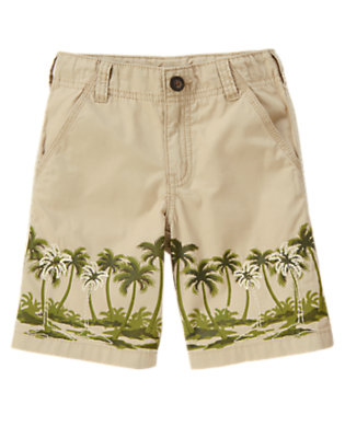 Boys Khaki Palm Tree Embroidered Short by Gymboree