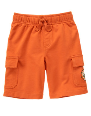 Ochre Orange Helicopter Patch Terry Cargo Short by Gymboree