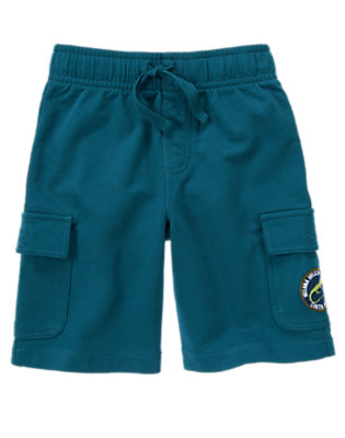 Helicopter Blue Iguana Patch Terry Cargo Short by Gymboree
