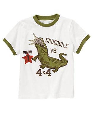 Boys White Crocodile Vs. Jeep Tee by Gymboree