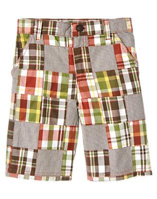 Boys Desert Red Patchwork Stripe Plaid Patchwork Short by Gymboree