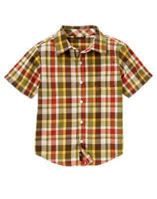 Boys Gator Green Plaid Pocket Plaid Shirt by Gymboree