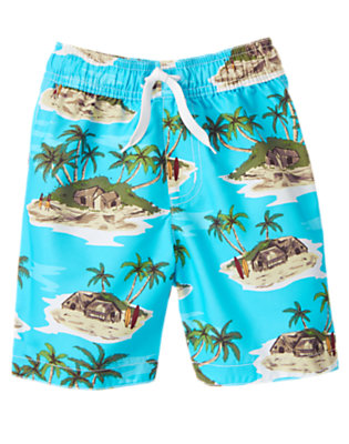 Boys Electric Blue Tropical Island Swim Trunk by Gymboree