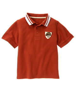 Boys Desert Red Jeep Patch Pique Polo Shirt by Gymboree