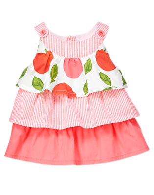 Toddler Girls Bright Pink Stripe Peach Stripe Mixed Print Ruffle Top by Gymboree