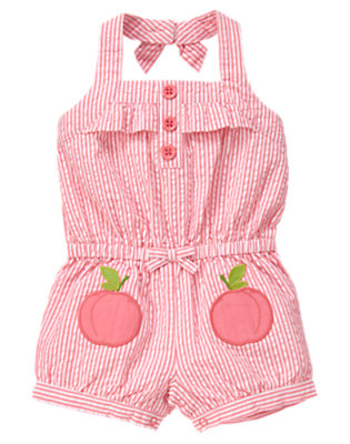 Toddler Girls Bright Pink Stripe Peach Stripe Seersucker Halter Romper by Gymboree