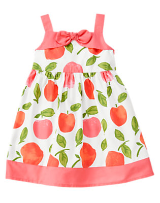 White Peach Bow Peach Dress by Gymboree