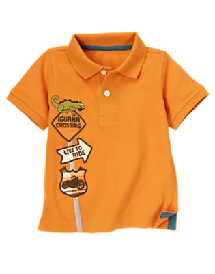 Highway Orange Road Sign Pique Polo Shirt by Gymboree