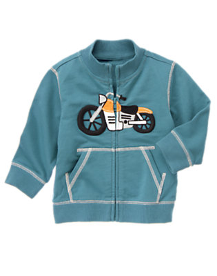 Toddler Boys Dusty Blue Motorcycle Terry Zip Cardigan by Gymboree