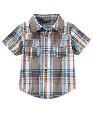 Toddler Boys Dusty Blue Plaid Snap Pocket Plaid Shirt by Gymboree