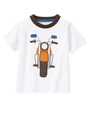 White Motorcycle Ringer Tee by Gymboree