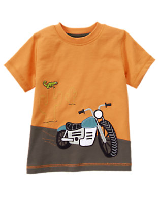 Toddler Boys Highway Orange Motorcycle Desert Tee by Gymboree