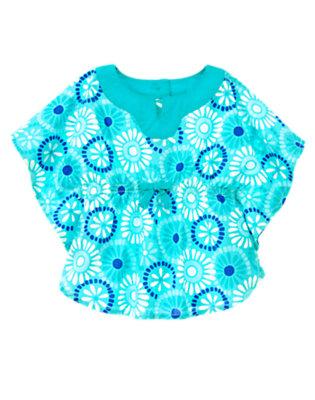 Toddler Girls Aqua Blue Tile Tile Print Tunic Top by Gymboree