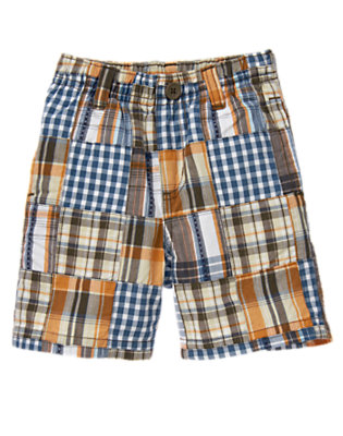 Dusty Blue Patchwork Checked Plaid Patchwork Short by Gymboree