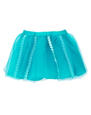 Toddler Girls Aqua Blue Dot Trim Tutu Skirt by Gymboree