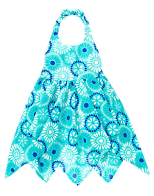 Aqua Blue Tile Tile Print Halter Dress by Gymboree