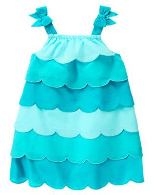 Toddler Girls Aqua Blue Scalloped Colorblock Dress by Gymboree